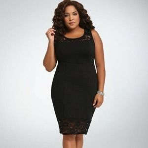 Torrid Lace Inset Bodycon Dress Black Sz 14
